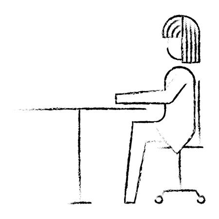 businesswoman sitting in chair vector illustration sketch design