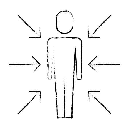 화살표와 함께 서있는 사업가 관심의 충돌으로 나타냅니다. 벡터 일러스트 레이 션 스케치 디자인