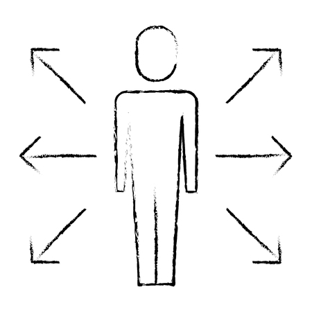 businessman with arrows vector illustration sketch design Illustration