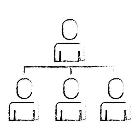 비즈니스 사람들이 조직 계층 구조 그림 스케치 디자인.