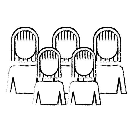 Portrait business people teamwork partnership illustration sketch design. Illustration