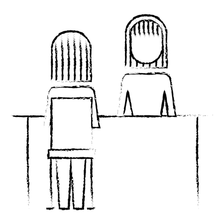 Business people meeting interview professional  illustration sketch design.