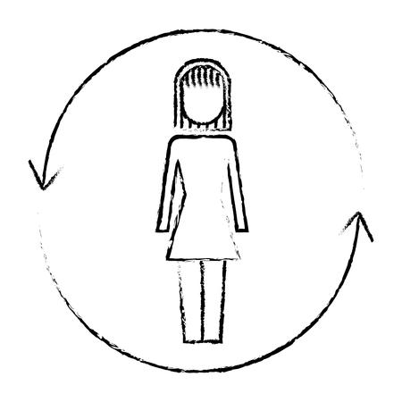 Businesswoman with arrows around solution illustration sketch design.
