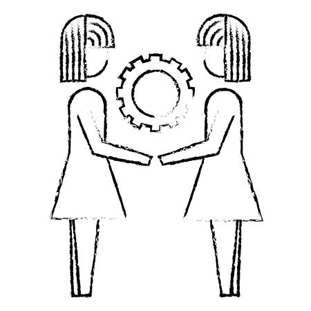 two business women holding gear vector illustration sketch design Ilustração