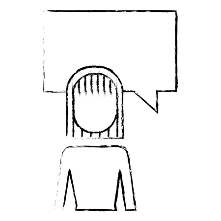 businesswoman and speak bubble talk message vector illustration sketch design 向量圖像
