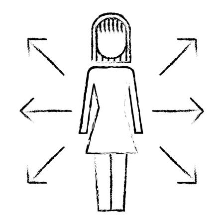 ビジネスウーマンオプション矢印方向選択イラストスケッチデザイン。