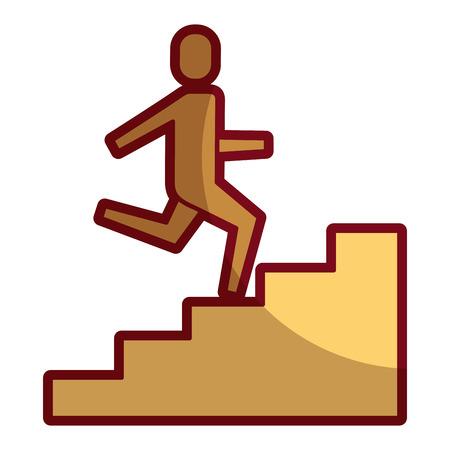 Businessman climbing stairs up success business illustration shadow design. Иллюстрация