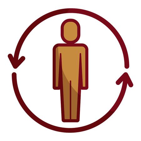 businessman with arrows around solution vector illustration shadow design