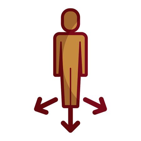 businessman with arrows direction vector illustration Banque d'images - 92474539