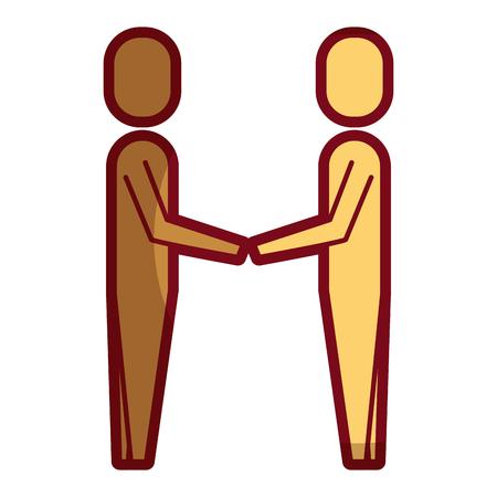 business men hands shake teamwork vector illustration shadow design