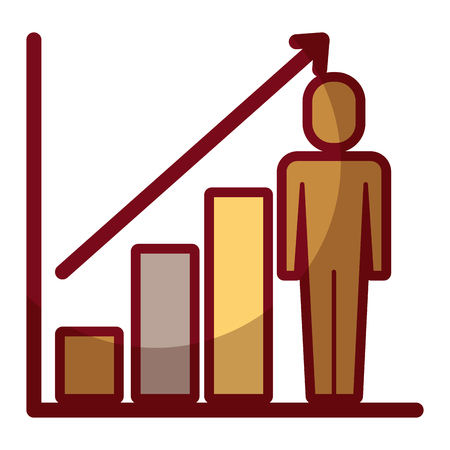 businessman with diagram arrow growth finance vector illustration shadow design
