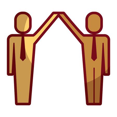 Businessmen with raised arms triumph success illustration shadow design. Illustration