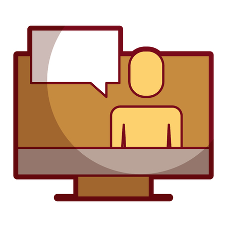 Businessman on screen laptop discussion chat illustration shadow design Illustration