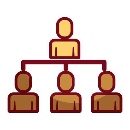 business people organizational hierarchical scheme vector illustration shadow design