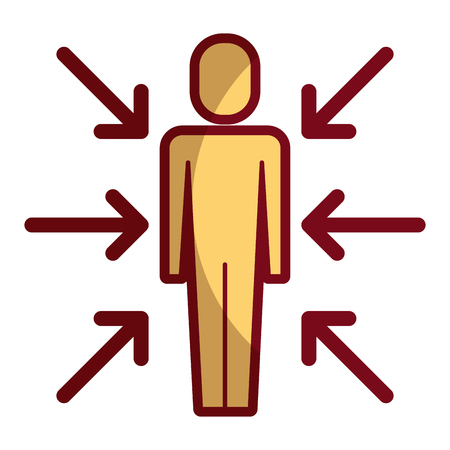 businessman standing with arrows conflict of interest vector illustration shadow design