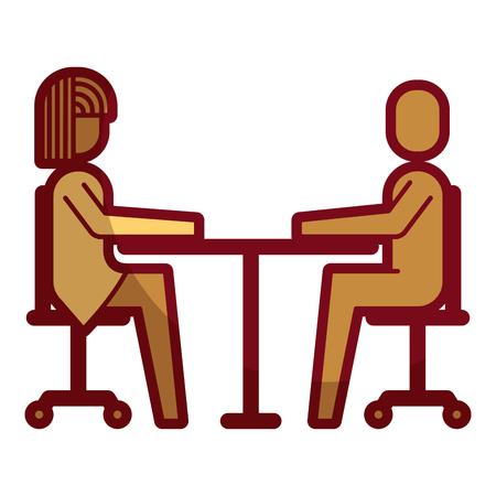 Woman and man business sitting communication team illustration. Illustration