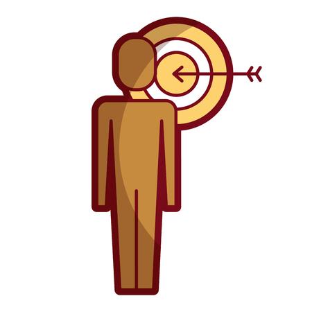 businessman with targert arrow solution marketing vector illustration shadow design