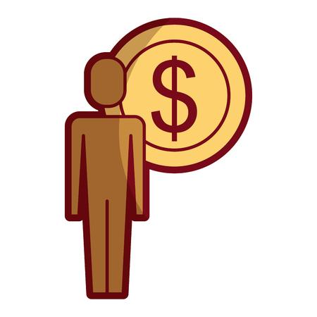 Businessman dollar coin money symbol illustration.