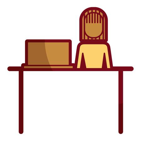 Businesswoman sitting desk laptop working illustration.