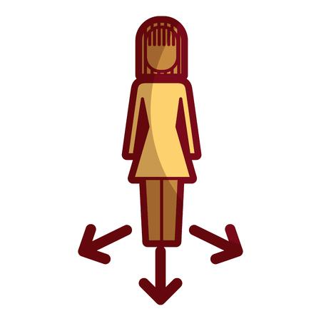 Options de femme d'affaires flèches direction choisir illustration vectorielle Banque d'images - 92360551