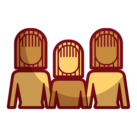 Three girls icon. Illustration