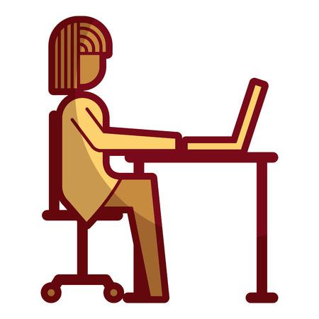 businessman sitting desk laptop working vector illustration