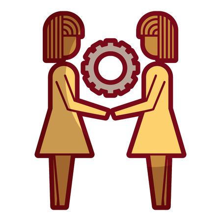 two business women holding gear teamwork concept vector illustration sketch design