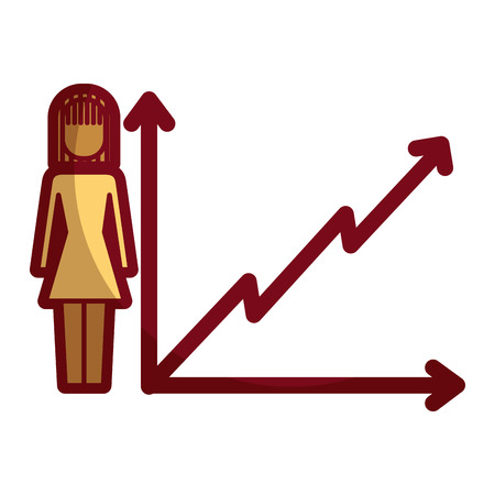 businesswoman with diagram arrow growth finance vector illustration 向量圖像
