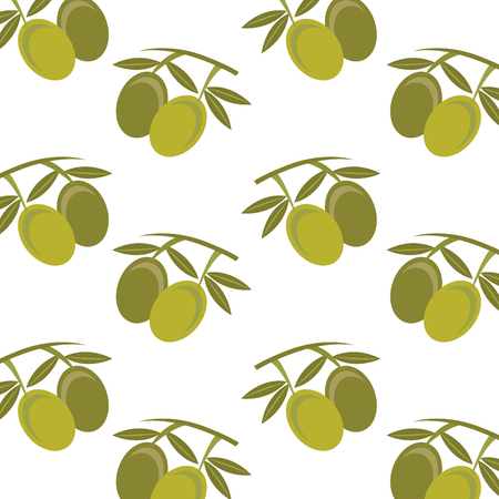 seamless pattern vnutrition olive leaves fruit ector illustration Иллюстрация