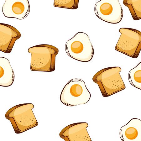 naadloze patroon gebakken ei en sneetje brood ontbijt vector illustratie