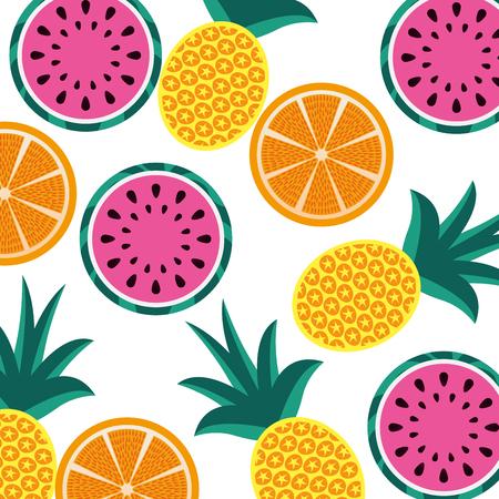 orange pineapple and watermelon fruit seamless pattern vector illustration 向量圖像