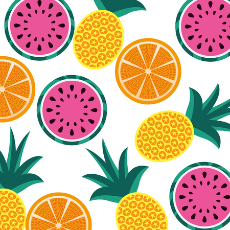 orange pineapple and watermelon fruit seamless pattern vector illustration Illustration