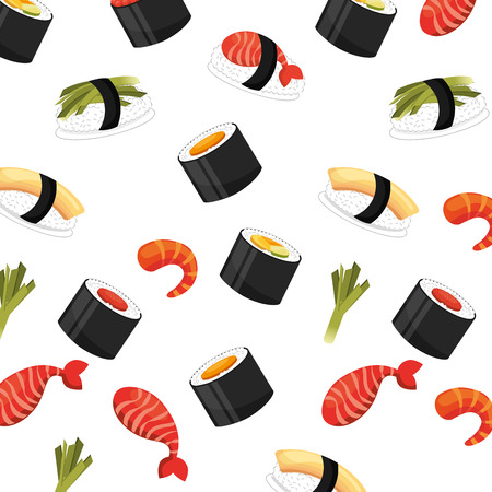 seamless pattern of  healthy food chinese sushi vector illustration