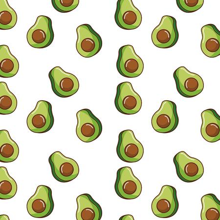 seamless pattern avocado vector illustration