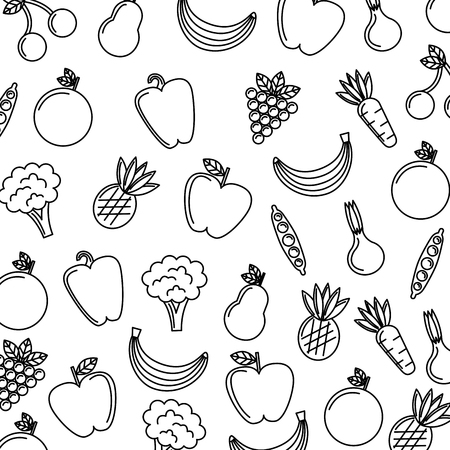 vegetables and fruits fresh food seamless pattern vector illustration thin line image