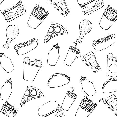 fast food cachorro quente frango pizza refrigerante sem costura padrão vector ilustração imagem de linha fina
