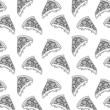ファーストフードピザシームレスパターンベクトルイラスト細線画像