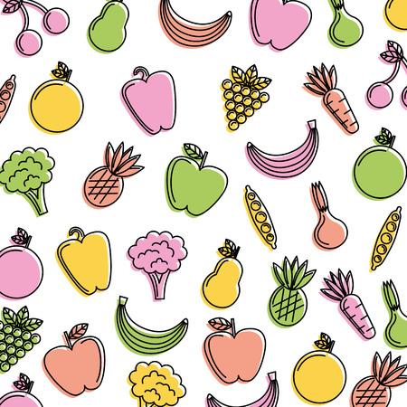 野菜や果物の新鮮な食品パターンのイラスト。