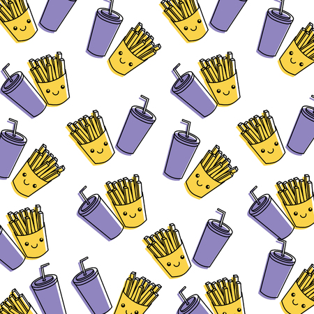 Fastfood themed, includes fries and soda borderless,  repetitive pattern illustration.
