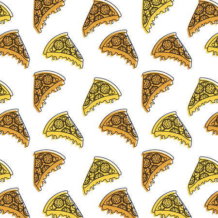 fast food pizza seamless pattern vector illustration