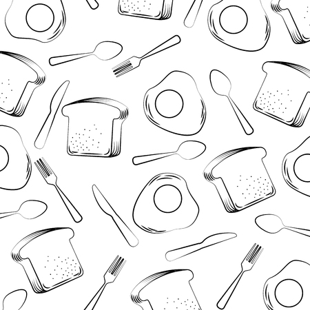 Borderless pattern of fried egg and slice bread, fork and spoon illustration in outline style design. Çizim