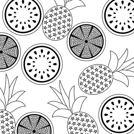 orange pineapple and watermelon fruit seamless pattern vector illustration outline design