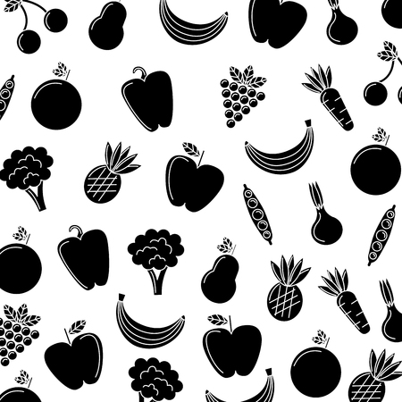 Vegetables and fruits pattern.