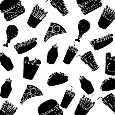 fast food hot dog chicken pizza soda seamless pattern vector illustration pictogram design Illustration