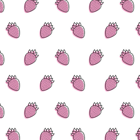 Fresh strawberry fruit borderless, repetitive pattern illustration.