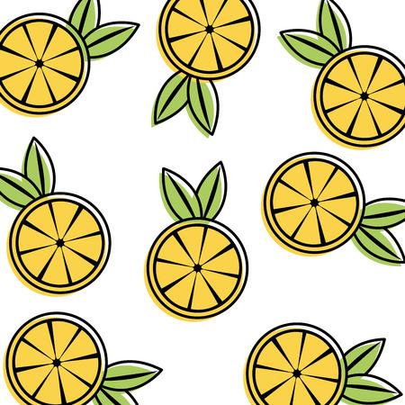 국경없는 오렌지 과일, 반복적 인 패턴 일러스트를 얇게 썬. 일러스트