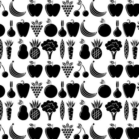 Vegetables and fruits fresh food pattern illustration pictogram design.
