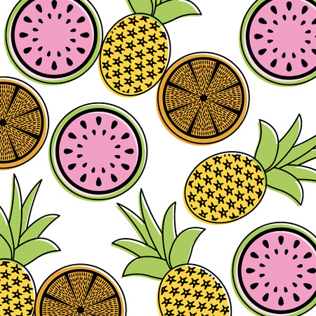 Orange pineapple and watermelon fruit pattern illustration. Illustration