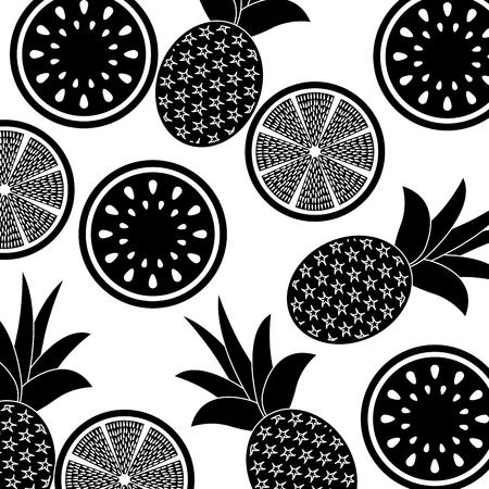 orange pineapple and watermelon fruit seamless pattern vector illustration pictogram design Stock Vector - 92396527
