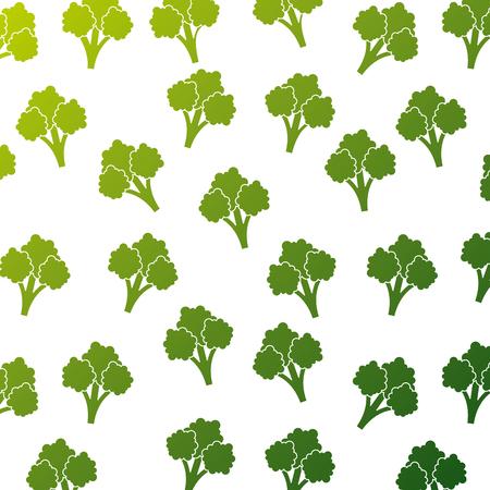 ブロッコリー野菜 健康的シームレスパターンベクトルイラスト  イラスト・ベクター素材